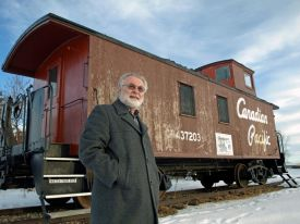 Paul at the Penhold caboose