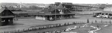 Red Deer station, coal chutes, park 95 years ago